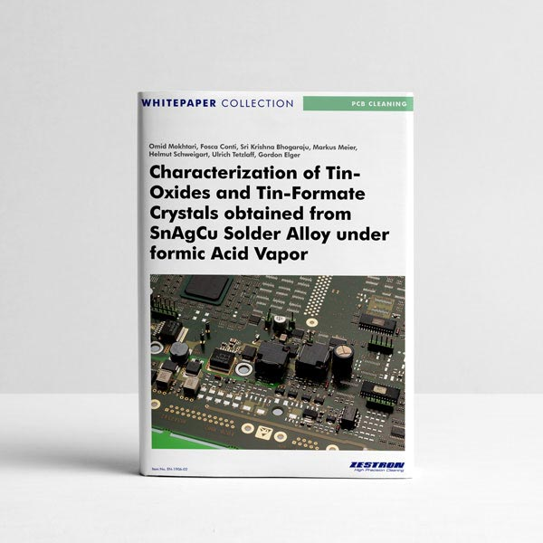 Characterization of tin-oxides and tin-formate crystals obtained from SnAgCu solder alloy under formic acid vapor